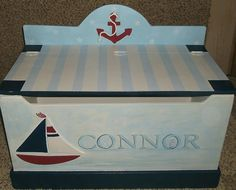 Nautical Sailboats Anchors Toy Chest Toy Box Toy Storage Bin Custom Baby Bedding…