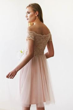 Princess Off the Shoulder Lae and Tulle Short Bridesmaid Dress