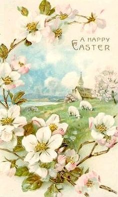 Happy Easter ... love the little lambs & the country Church