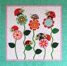 Pattern  Ladybugs & Kisses Baby Quilt by by UnBiasedFabrics