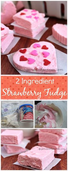 2 Ingredient Strawberry Fudge! Easy to make and so pretty! ❤️
