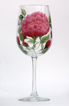 Red Peonies hand-painted wine glass – http://www.wineflowersglass.com/collections/wineglasses/products/burgandy-peonies $19.95