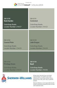 Green Exterior Paints, Exterior Color Palette, Exterior Paint Colors For House, Paint Colors For Home, Exterior Colors, Teal Paint Colors, Room Colors, Wall Colors, Colours