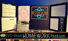 Tri-fold Homework Station tutorial for those wishing to curb the paper clutter the kids bring home from school. Home Learning, Learning Spaces, Fun Learning, Diy Back To School, I School, School Teacher, School Stuff, School Ideas, Kids Homework