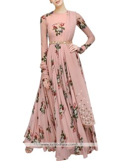 We are to breathe life into your aspirations and to make a mark in the world of style. Add richer looks to your persona in this majestic peach colour stitched gown. It is uniquely floral print. Indian Gowns Dresses, Indian Fashion Dresses, Indian Designer Outfits, Pakistani Dresses, Indian Outfits, Designer Dresses, Fashion Outfits, Party Kleidung, Dress Indian Style