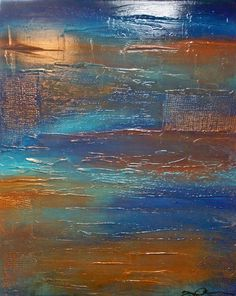 """This is a 24"""" x 30"""" canvas with a 1"""" profile. Textured abstract artwork using molding paste and stencils, this piece is reminiscent--to me--of a ship which has been under the sea for ages. Frozen in t"""