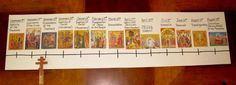 Liturgical year timeline for kids to make.  Want to do this with the Catholic Church Solemnities