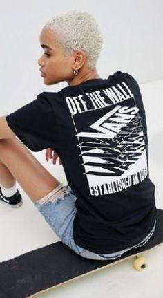 3ea5973cd33 Vans Black Stacked Back Print T-Shirt