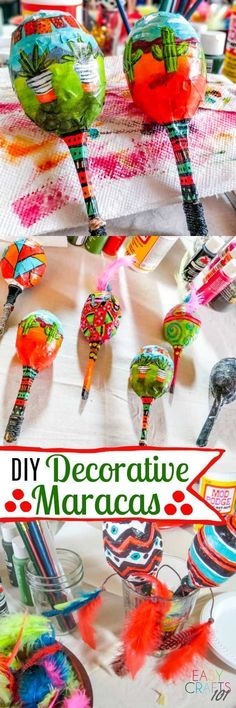 It makes me feel good, it makes me have fun, and it makes me…. With Cinco de Mayo approaching, these decorative maracas are right up my alley. My talented…More Easy Fall Crafts, Winter Crafts For Kids, Easy Crafts For Kids, Summer Crafts, Diy For Kids, Instrument Craft, Musical Instruments, Easy Art Projects, Easy Diy Gifts