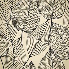 Oto o de color beige sin patr n estilizado hoja Seamless textura plantilla decorativo con hojas Foto de archivo