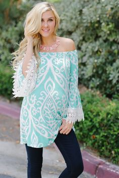 Aqua White Printed Crochet Sleeve Maternity Tunic from PinkBlush Maternity www.pinkblushmaternity.com #maternity #fashion