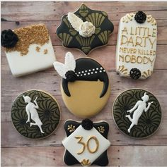 Quinceanera cookie favors have become increasingly popular because not only are they delicious, but they're also super easy to personalize! Iced Sugar Cookies, Royal Icing Cookies, Cookie Frosting, Gatsby Themed Party, Themed Parties, Party Themes, Party Ideas, Gatsby Cookies, Engagement Party Cookies