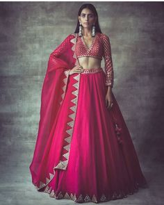 Hot pink pure raw silk lehenga bridal lehenga Hand work lehenga Upon order confirmation, we will send you a measurement chart/ Form which you will need to fill in inches ,so that it can made to your size Indian Gowns Dresses, Indian Fashion Dresses, Dress Indian Style, Indian Designer Outfits, Designer Dresses, Fashion Skirts, Indian Designers, Saree Fashion, Pakistani Dresses