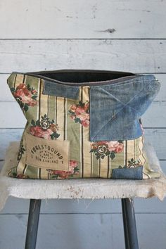 1940's era Floral Canvas & WWII era Denim Utility Pouch, recycle, patchwork, patches, beauty, flower fabrique, crafting idea