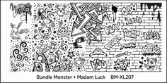 Bundle Monster stamping plate BM-XL207 Blogger Collaboration Set 2 Madam Luck grafitti punk drawing