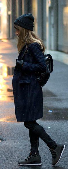 Megan Jedlinski is wearing a pinstripe coat from J. Crew