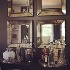 Crate and Barrel Dubois Mirrors, Benjamin Moore Dragons Breath. I need those mirrors in my life