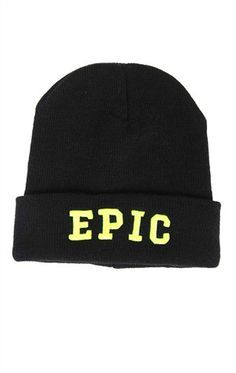 Epic beanie - A simple black beanie with a fold down the bottom that says EPIC in bold yellow writing. I chose this beanie because of its simplicity.