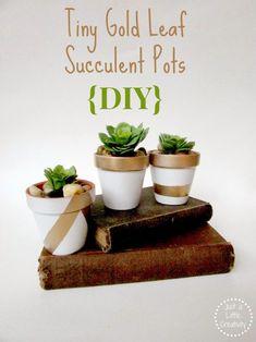 faux gold leaf succulent pots