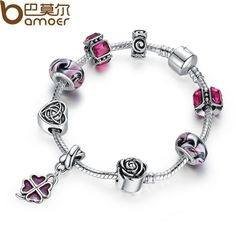 Original Silver Four Leaf Clover Charm Bracelet with Purple Beads for Women Fashion Jewelry PA1436