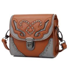 KGS Tas Selempang Casual Wanita Ethnic Grey Decoration Metal Dots 1059 - Coklat - Int: One size