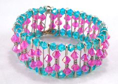 Pink and blue beaded safety pin bracelet by TheBeadedCatsEye