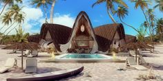 Shell Resort in Zanzibar, Tanzania - rendering and design by www. Bamboo Art, Tropical Houses, 3d Rendering, Luxury Villa, Creative Studio, Outdoor Furniture, Outdoor Decor, Tanzania, Shells