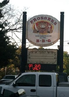 It's creepy how happy this pig looks to be eating BBQ - at Prosser's BBQ in Murrell's Inlet, SC.