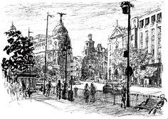 Edificio metrópolis. Calle Gran Vía con Alcala, Madrid. dibujo con rotulador y boligrafo en papel A4