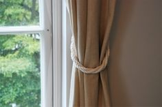Cotton Rope Twist White Curtain Tie-backs/ Nautical curtain hold-backs/ shabby chic living room/ window treatment/ white rope tiebacks by AndreaCookInteriors on Etsy