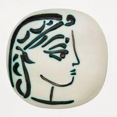 Picasso Ceramic Madoura Sculpture Signed, Jacqueline\'s Profile, 1956