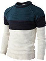 H2H Mens Casual Slim Fit Pullover Lightweight Thin Fabric Sweaters Stripe Patterned