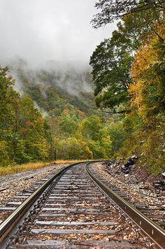 Fog Rising Railroad Print By Lj Lambert http://fineartamerica.com/products/fog-rising-railroad-lj-lambert-art-print.html