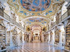 Admont Abbey, founded in 1074 and housing the largest monastic library in the world. Looks almost like a painting.