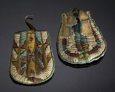 Sioux Beaded Hide Pouches,