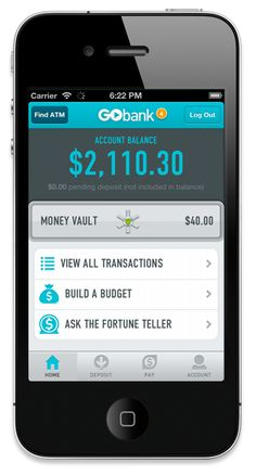 GoBank Mobile Banking:  SAY HELLO TO GO.  A new kind of checking account. No overdraft fees. No worries.