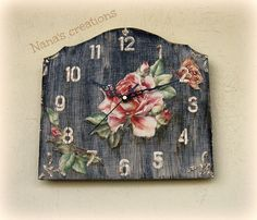 Romantic clock with roses Shabby, Romantic, Handmade, Furnitures, Clocks, Vintage, Roses, Home Decor, Style