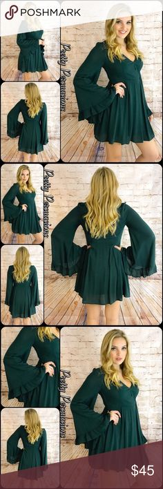 """NWT Green Long Bell Sleeve Ruffle Hem Dress NWT Green Bell Sleeve Ruffle Hem Dress  Available in S, M, L Measurements taken from a small  Length: 33"""" Bust: 36"""" Waist: 28""""  Features  • long bell sleeves  • fitted waistline  • v-neck, surplice front • lined  Bundle discounts available  No pp or trades   Item # 1/202130450GRD green ruffle long bell sleeve Pretty Persuasions Dresses"""