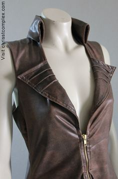 Steampunk Jacket Bolero Leather Gothic  Vest and Bolero by chrisst, $625.00
