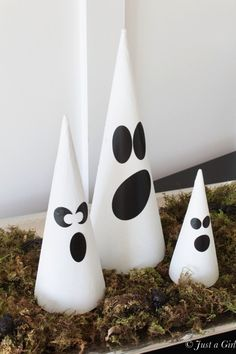 Glittered Ghost Cones - fun Halloween decorations