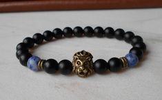 Men's black bracelet men lion bracelet shungite bracelet mens jewelry lion head bracelet mens beaded bracelet gemstone bracelet gift for him