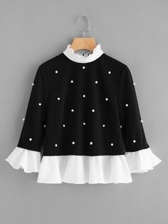 SheIn offers Contrast Frill Trim Pearl Embellished Top & more to fit your fashionable needs. Source by mabellanlara de moda Teen Fashion Outfits, Look Fashion, Trendy Outfits, Kids Outfits, Girl Fashion, Fashion Dresses, Cute Outfits, Womens Fashion, Fashion Design