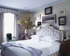 Miles Redd-classy, tufted headboard, pretty grey and lavender-really like the wall treatment