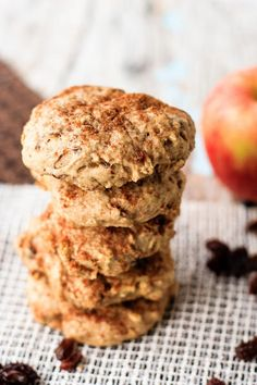 Soft apple oatmeal breakfast cookies that are a hit with the kids! The perfect healthy snack for the lunchbox, or as an on-the-go breakfast!