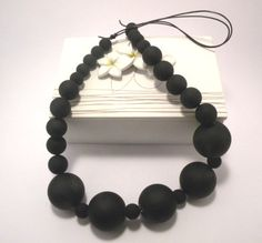 Black adjustable chunky bead Necklace. by CatesCreativeHabit