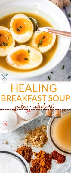 Packed With Vitamins And Minerals, This Healing Breakfast Soup Is Paleo And Compliant. Simple To Make In Just Minutes And Perfect For Cold And Flu Season Via Physicalkitch Breakfast Soup, Whole 30 Breakfast, Paleo Breakfast, Breakfast Recipes, Paleo Recipes, Real Food Recipes, Soup Recipes, Cooking Recipes, Budget Recipes