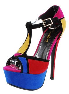 colorblock t-strap high heels