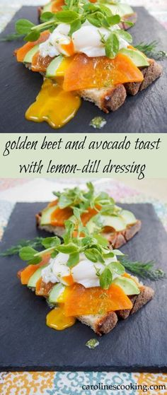 golden beet and avocado toast with lemon-dill dressing. Easy to make, delicious flavors and makes a great brunch or lunch. Topped with a poached egg takes it over the top!