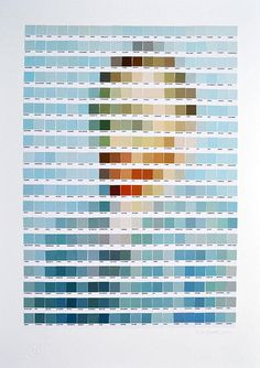 British artist Nick Smith recreates classic paintings from Vincent Van Gogh, Warhol, or Rene Magritte, using Pantone color chips. If you look at it up close—clicking on the expand button— you will only see the color chips, but if you step back—or zoom out—you'll see a pixel-art version of the original paintings.