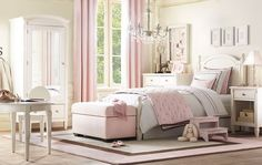 A stunning, spacious and airy pink and gray bedroom. I love this space and the subtle girliness of it. /ES
